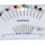 350. Florist/Hat Pins: Stainless Steel - 10mm Round Bead Asst. Colours- 12pcs
